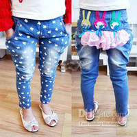 Wholesale girl s Pleasant denim pants Children s personality rabbit jeans blue dotted Jeans casual trousers s