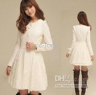 Womens Coats Clothing Fashion Slim Fitted White Lace And Wool