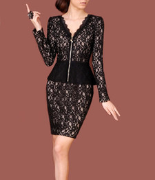 Wholesale Long sleeve V neck lace pencil dress elegant women