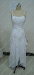 Wholesale 2010 Sonora Wedding Gown chiffon spaghetti strap Strapless Beading high low Bridal Gowns Custom Made