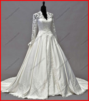 Wholesale Fashion Long Lace Sleeves V neck Embroidery Taffeta Royal A line Ball Gown Wedding Dresses Customed