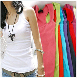 Wholesale Japan Korea Style Women s Candy Colors Cotton Long Vest Tank Tops High Quality A954