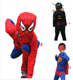 Wholesale superman Batman spiderman kid costume halloween spiderman costume cosplay for party and makeup