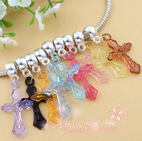 Wholesale MIC X Color Plastic Transparent Jesu Sword Cross Charm Beads mm mm