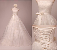 Wholesale 2012 Retro A Line Strapless Organza Fold Lace Sweep Brush wedding dresses Wedding gown