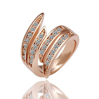 Wholesale High Quality New Fashion Jewelry K Rose Gold Plated Rhinestone Austrian Crystal Wedding Ring JZ007