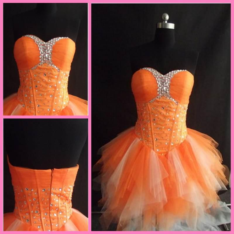 Bright Orange Lovely Cocktail Gown Hot Sale Tulle Ball Gown Zip ...