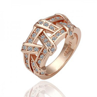 Wholesale 18KGP R061 Rose Gold Weave K Gold Plated Ring Health Jewelry Nickel Free K Golden Plating Platinum Austrian Crystal