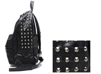 Wholesale Punk Handbags Men Women Backpack Bags Skull Rivets Black PU