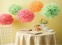Wholesale 10 quot Colors Tissue Paper Pom Poms hanging Flower Balls Wedding party Deco