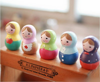 Wholesale zakka cute hand painted Russian doll ornaments decorations Christmas gift colors