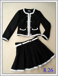 Wholesale Womens Dress Suit Winter Coat and Dress Fashionable Laced Lined Pockets Black Gilrs Clothes Hot Sale