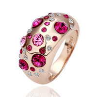 Wholesale Hot Sale Fashion Jewelry K Rose Gold Plated Genuine Austrian Crystal Wedding Rings JZ077