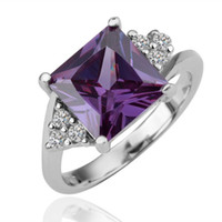 Wholesale Top Quality Fashion Jewelry K White Gold Plated Charm Purple Gemstone Crystal Wedding Ring JZ094
