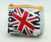 Wholesale New Fashion Women Union Jack Zip Coin Purse PU Leather Nation Flag Coin Wallet