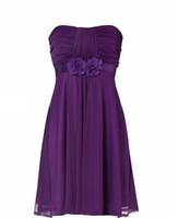 Actual Images Hand Made Flower  Short A-line Purple Sweetheart Ruched Bodice with Flowers On Empire Waist Chiffon Bridesmaid Dresses