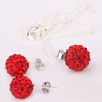 Cheap Fit Ladies Disco Crystal Beads Ball Pendant Necklaces Earrings silver Chains Mix Color 200sets #PA
