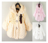 Wholesale Girls long sleeve with silk wool shawls long sleeve children s winter coat Feather coat