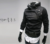 Wholesale High collar Hoodies new arrival Hoodies inclined zipper design men s Hoodies Sweatshirts