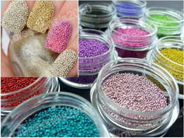 Wholesale New Beautiful hot caviar nail Art Acrylic Steel Ball Manicure DecorationTips Colors per set cheap