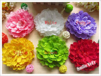 Wholesale 500pcs inch Lace Satin Flower Hair Bows Metal Clips Baby Girls hair Ornament Pink Kid s Headwear
