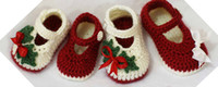 Wholesale Crochet baby Christmas shoes first walkers red green white mary jane M pairs cotton yarn