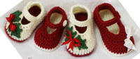 Wholesale Crochet baby Christmas shoes red green white mary jane M pairs cotton yarn custom