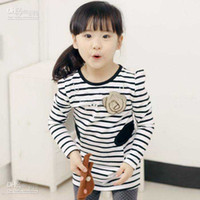 Girl   New Fashion cute girl's O-neck tee shirt,baby long-sleeved cotton striped T-shirt with flower