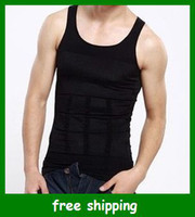 white black   Men Slimming Vest Shirt Corset Body Shaper Fatty Body Shaping Black White S M L XL XXL free shipping