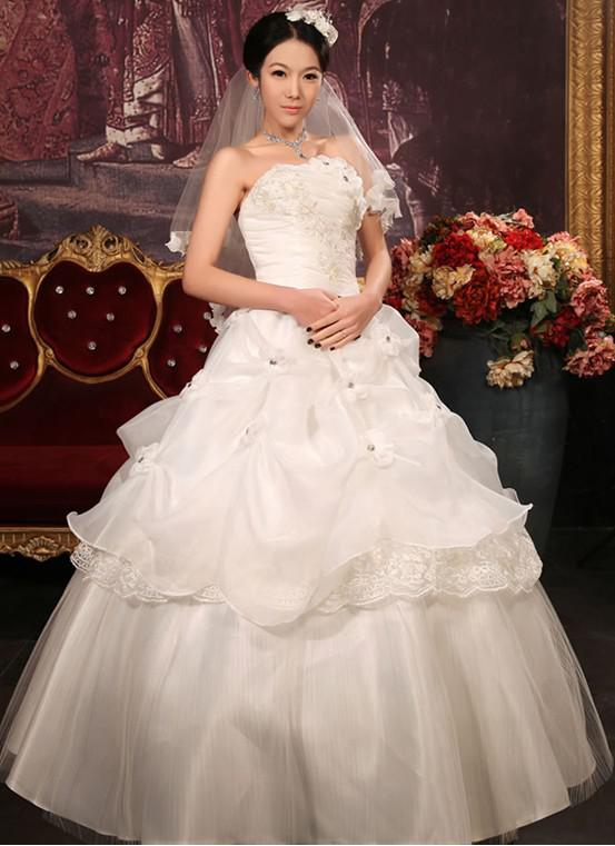 Korea style cream colored sweet princess flower lace for Cream colored lace wedding dresses