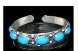 Charming Tibet Silver Turquoise Cuff Bracelet Size: Adjustable
