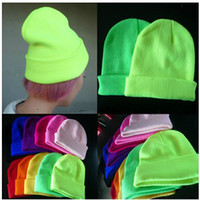 Wholesale New hot Candy colors Korea fluorescent hat knitted hat men and women wave of autumn and winter hat