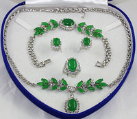 Wholesale Green blue Jade Crystal silver Necklace Bracelet Earring Ring Sets