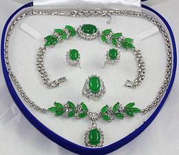Green blue Jade Crystal silver Necklace Bracelet Earring Ring Sets