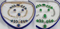 Wholesale Beautiful blue jade bracelet earring ring necklace pendant