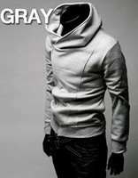 Wholesale High collar Hoodies top Men s Hoodies Sweatshirts oblique zipper hooded Fashion sports hoodies
