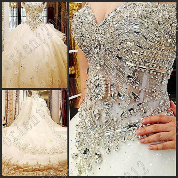 2016 Crystal Beaded Organza Empire Ball Gown Sweetheart Neckline ...