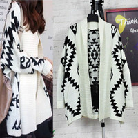 Polyester bat wing sweater - Geometric Pattern Ladies Bat wing Sleeve Loose Cardigan Light Beige Sweater Size Free