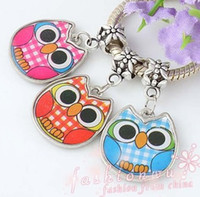 Wholesale MIC pcsTwo Sided Colors Enamel Cute Owl Charms Fit Charm Bracelet mm mm FreeShip