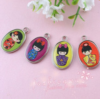 Wholesale MIC Two Sided Mix Color Enamel Cute Japanese Girl Charms Pendants mm mm