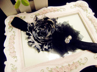 Wholesale NEW Photography props cute headband Shabby Frayed Chiffon Flower plus mesh flower Headband
