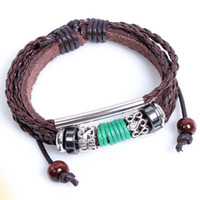 Wholesale Mediterranean style leather bracelets braided leather bracelet handmade Bangle jewelry