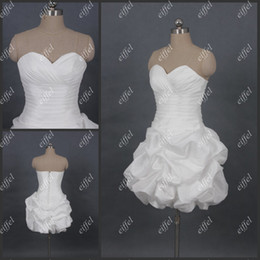 Wholesale Hot Sale Custom Made White Sweetheart sans manches Ruffles Taffetas Sexy Robes de mariée courtes