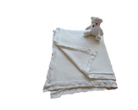 Wholesale cotton knit elegant lace hem baby blanket