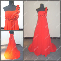 Wholesale Party Wear Long Dress Red One Shoulder Flowers Designer s Evening Gowns