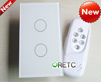 Wholesale 2 gang touch wall switch with RF remote wireless remote control light switch Mhz