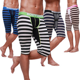 Wholesale GMW Men s Middle Long Johns Modal Striated Bottoms pants Half long Striped Thermals Clamdiggers Half Shorts Pants Sexy Leggings