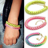 Wholesale Factory Offer Fluorescence Wrapped Bracelet Punk Rope Bracelet Neon Line Friendship Bracelet B3