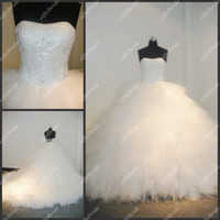 Wholesale Fashionable Ivory Strapless Sleeveless Floor Length Beaded Princess Tulle Bridal Gowns