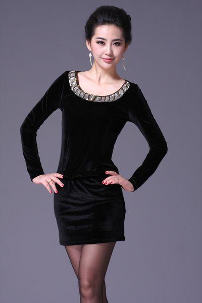 Mode nouvelle femme velours robe Plus taille robe de dames élégantes femmes base robe S3010J